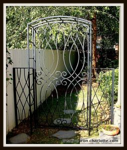 Custom Scroll Iron Trellis With Gate