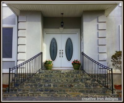 Curved Iron Front Step Railings