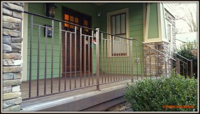 Misson Style Hammered Iron Porch Railings